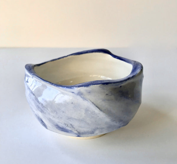 Handmade Milky Blue Faceted Matcha Green Tea Chawan Tea Bowl. Made in Los Angeles