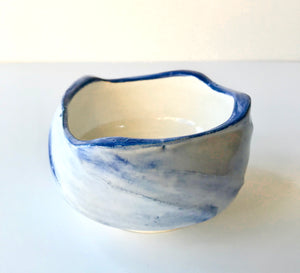 Faceted Milky Blue Chawan