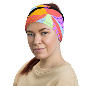 woman with multi color flower head band, face mask