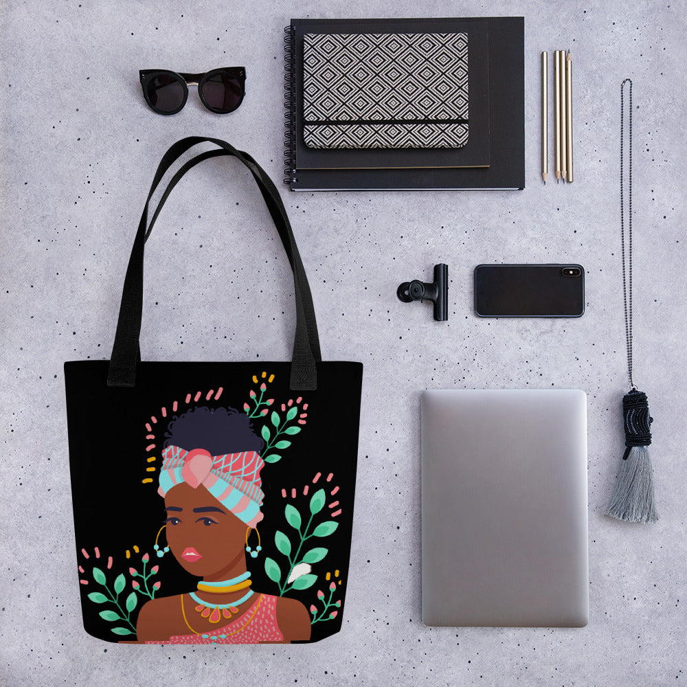 Prima Donna in Her Summer Thoughts Black Tote Bag Series