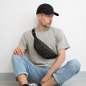 Gray Strip Fanny Pack