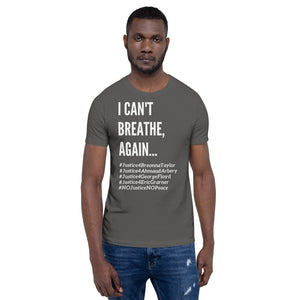 I Can't Breathe BLM Unisex Civil Rights Freedom T- Shirt Black