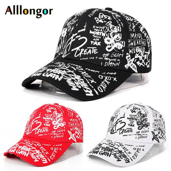 Graffiti Baseball Cap Women Men 2020 Summer Letter Print Snapback Hats