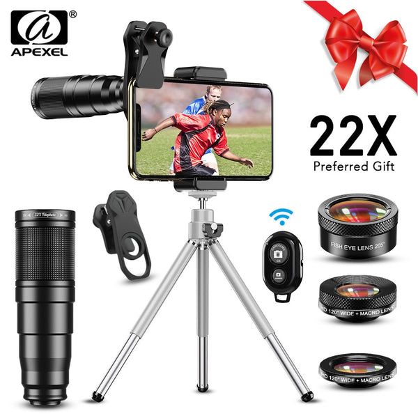 APEXEL 22X Lens Telescope Monocular Wide Macro Fisheye Lens Phone Camera Lens kit 4in1 with Tripod and Remote