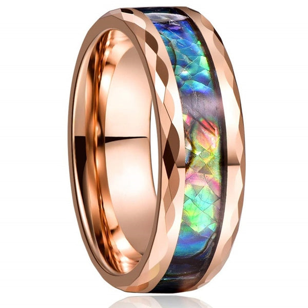 Abalone Shell Rings Unisex Wedding Bands Faceted Comfort Fit