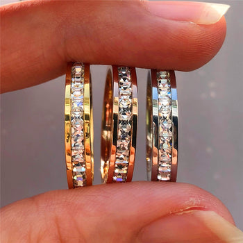 Boho Crystal Cubic Zirconia Stone Ring Vintage Stainless Steel Wedding Rings