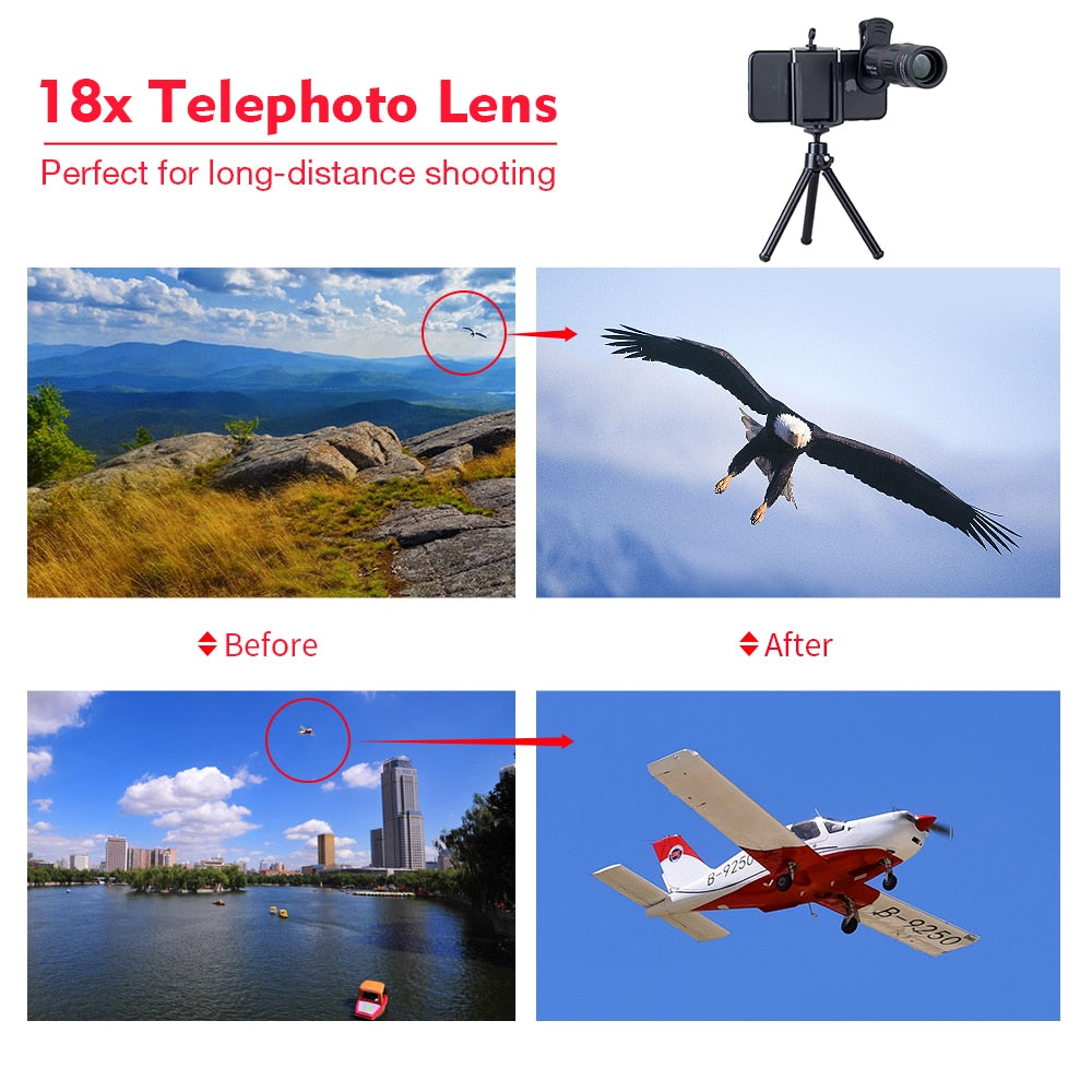 APEXEL 18X Telescope Zoom lens Monocular Mobile Phone camera Lens Smartphones for Camping hunting Sports