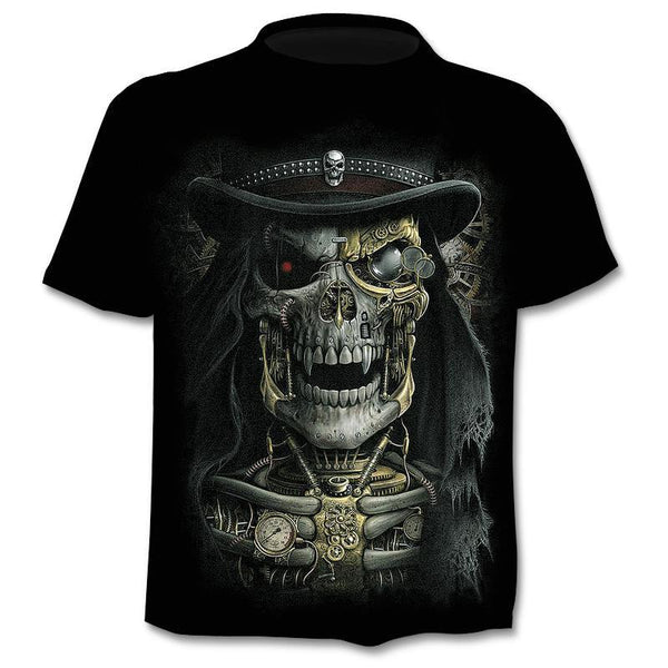 Skull 3d Print T-Shirt Summer Trendy Short Sleeve Top Tee