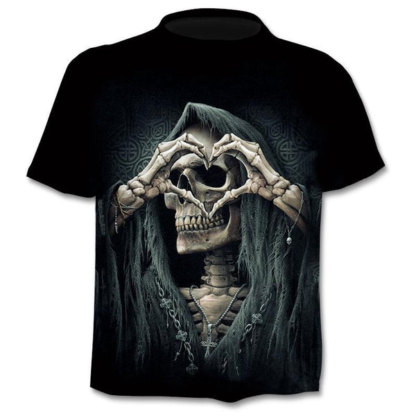 Print Skull 3d T-Shirt Summer Trendy Short Sleeve T-Shirt Top