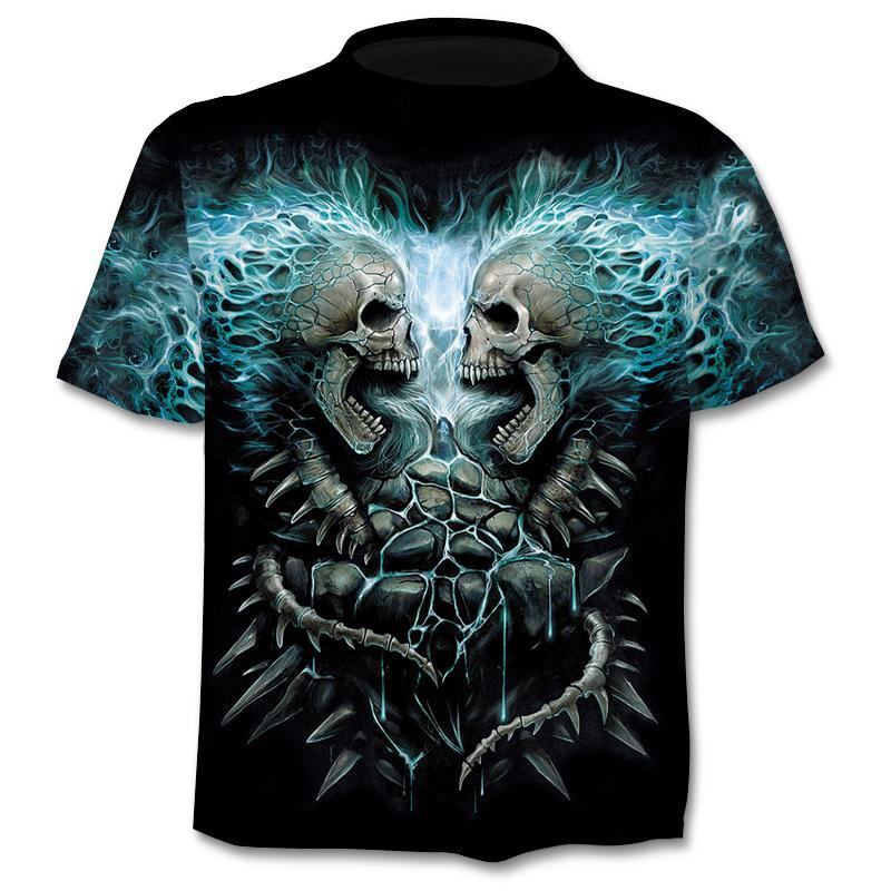 Print T-Shirt Skull 3d T-Shirt Summer Trendy Short Sleeve T-Shirt Top