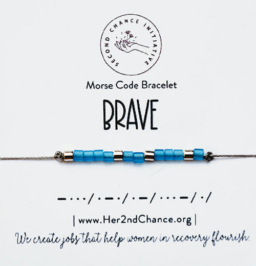 Morse Code Bracelet Light Blue - BRAVE