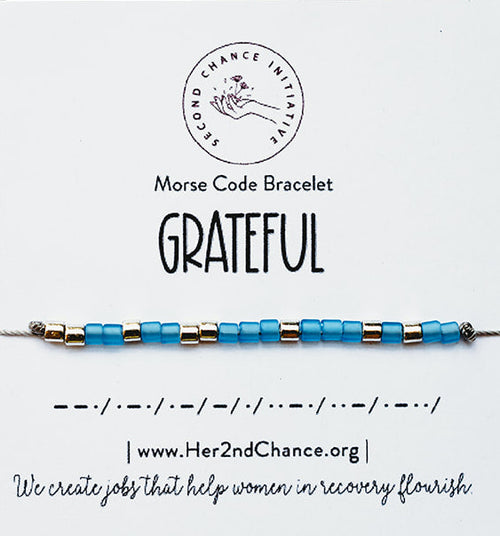 Morse Code Bracelet Light Blue - GRATEFUL