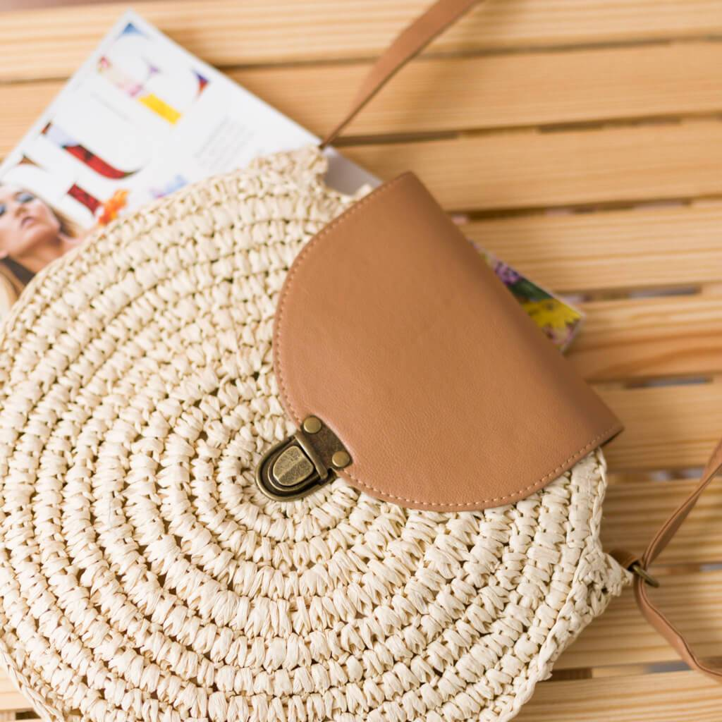 Bolso Rafia Close Beige/Marron