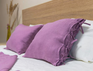 Deep Rose Pillowcase with Ties from Natural Softened Linen - Linen Couture Boutique