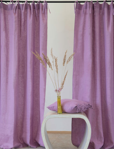 Deep Rose Linen Curtain & Drape With Ties - Linen Couture