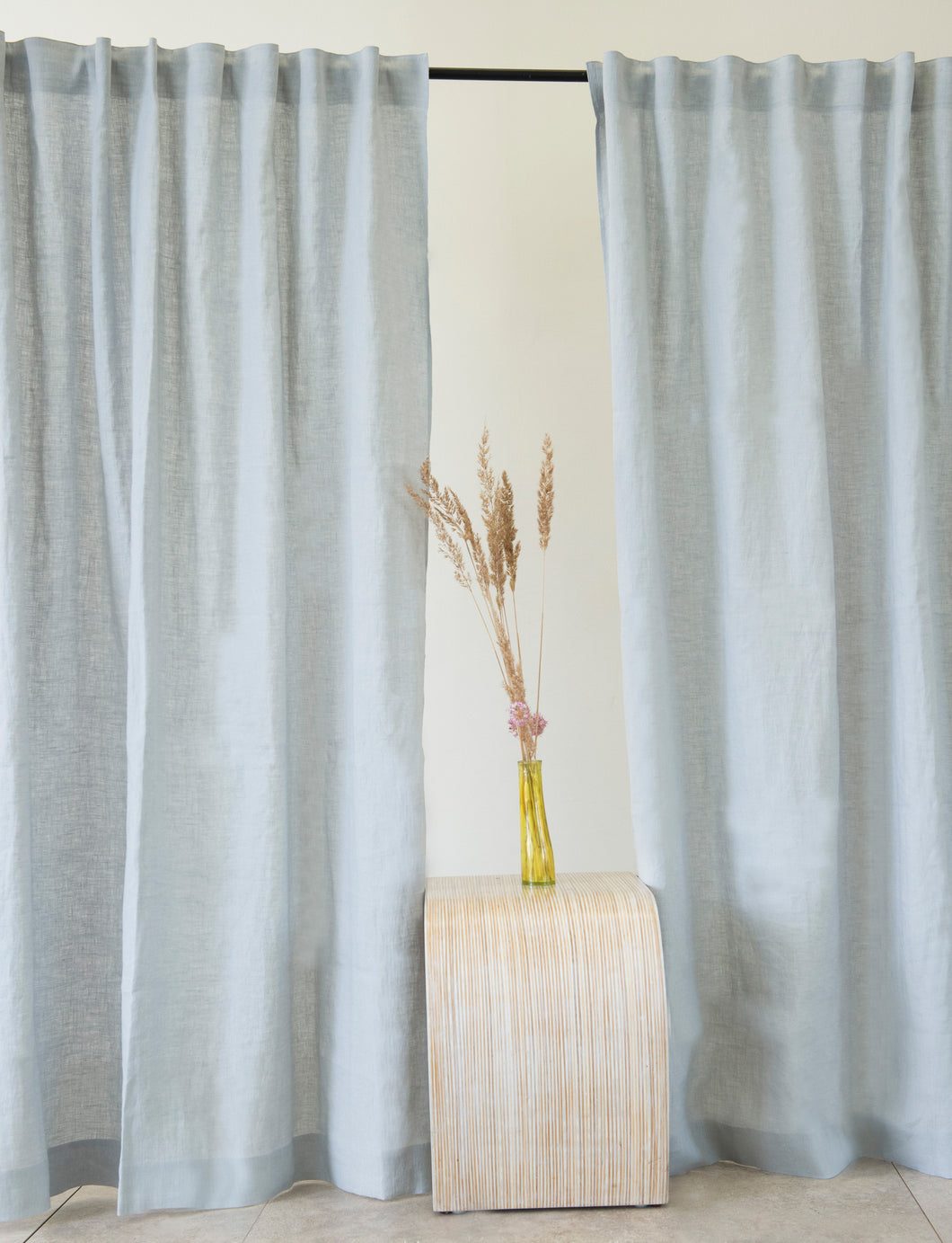Light Grey Linen Curtain & Drape with multi-functional heading tape - Linen Couture