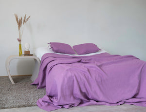 Linen Bed Throw in Deep Rose - Linen Couture