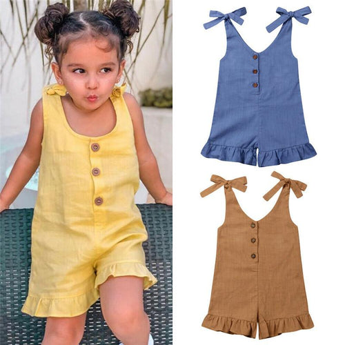 Brief Kids Baby Girl Cotton Linen Rompers Summer - Linen Couture