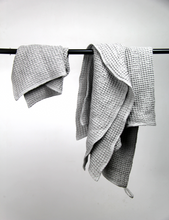 Load image into Gallery viewer, Grey waffle linen towel - Linen Couture
