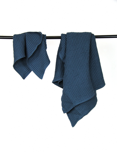 Navy Blue waffle linen towel - Linen Couture Boutique