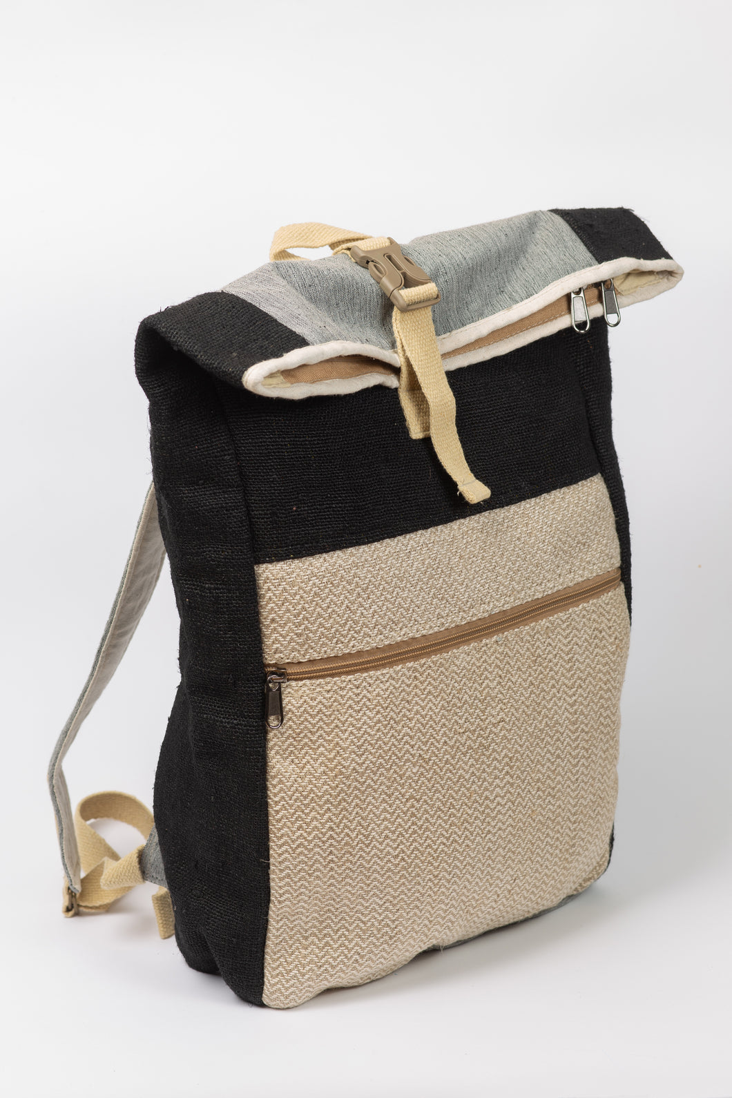 Black envelope bagpack from natural hemp - Linen Couture