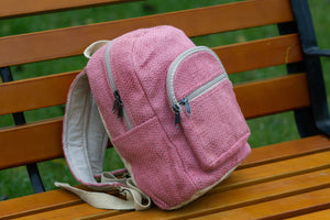 Small pastel pink hemp bagpack - Linen Couture Boutique