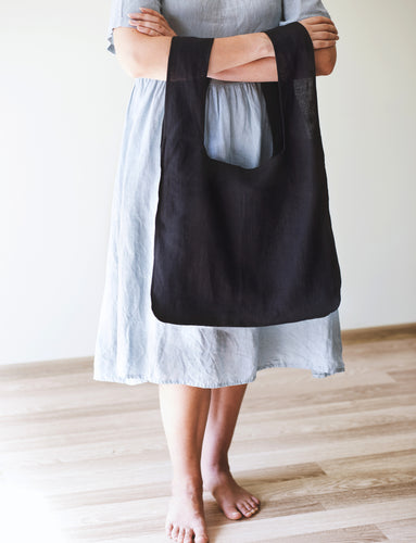 Black Linen Tote Bag with Inside Pocket - Linen Couture Boutique