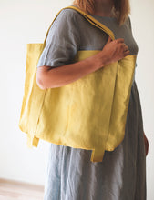 Load image into Gallery viewer, Grey Linen Bag with Contrast Details - Linen Couture