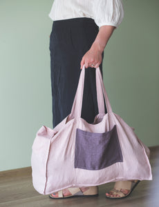 Linen beach bag with contrast pocket - Linen Couture