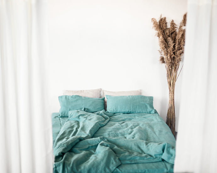 Set of softened Greyish mint linen bedding - Linen Couture Boutique