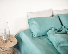 Load image into Gallery viewer, Set of softened Greyish mint linen bedding - Linen Couture