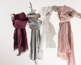 Dark Plum Linen Scarves & Wraps With Tassels - Linen Couture Boutique