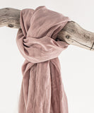 Pale Pink Linen Scarves & Wraps With Tassels - Linen Couture Boutique