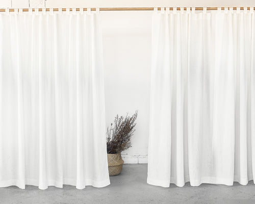 White Tab Top Linen Curtain & Drape - Linen Couture