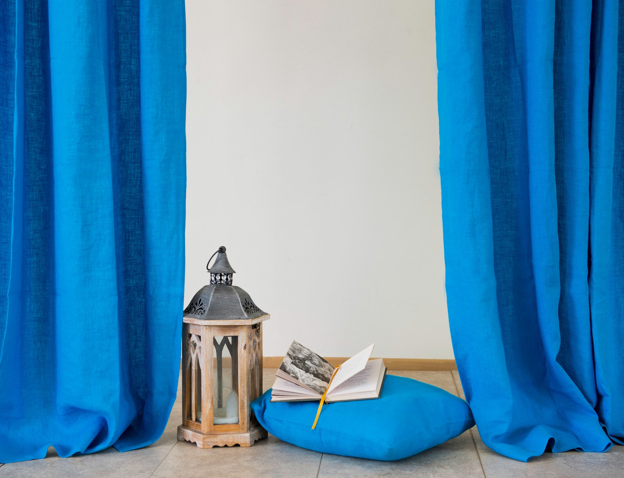 Sky Blue Tab Top Linen Curtain Drape Linen Couture