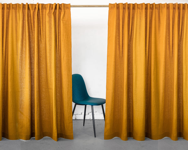 Mustard Linen Curtain & Drape with multi-functional heading tape - Linen Couture Boutique