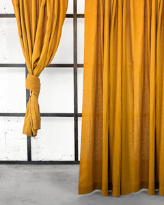 Mustard Linen Curtain & Drape with multi-functional heading tape - Linen Couture
