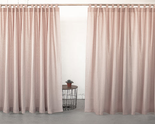 Pale Pink Tab Top Linen Curtain & Drape - Linen Couture