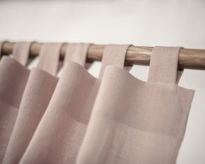 Pale Pink Tab Top Linen Curtain & Drape - Linen Couture Boutique