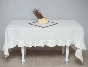 Honey Linen Tablecloth with ruffles - Linen Couture