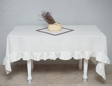 Load image into Gallery viewer, Linen Tablecloth with ruffles - Linen Couture