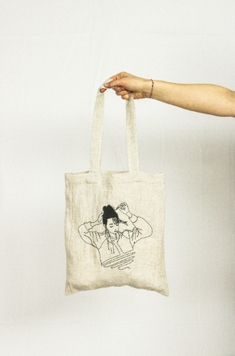 Angel Tenshi Linen tote bag embroidery, DIY shopping bag - Linen Couture