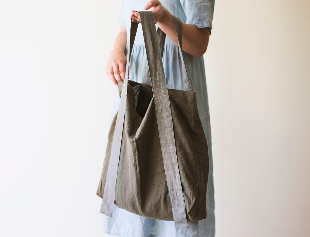 Linen Bag with Contrast Details - Linen Couture Boutique