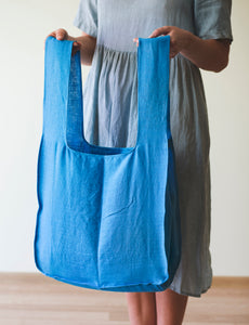 Sky blue linen bag with wide hangers - Linen Couture