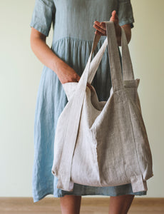 Grey Linen Bag with Contrast Details - Linen Couture