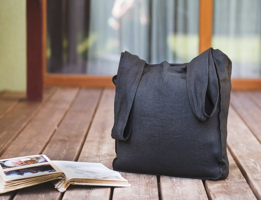 Black Linen Tote Bag with Inside Pocket - Linen Couture