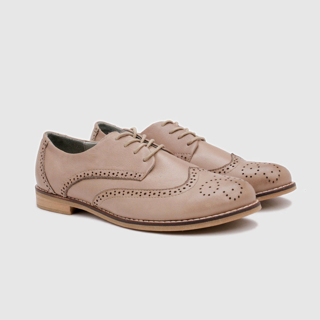 Women's Oxford in Light Brown Leather