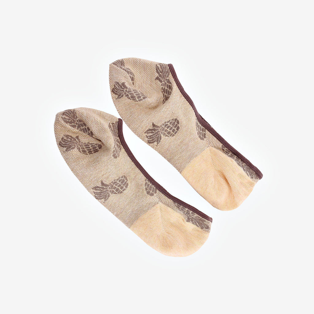 Brown and Yellow Pineapple Invisible Socks (2 Pairs)
