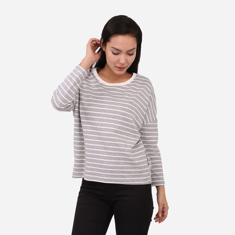 Grey Stripe Long Sleeves Top