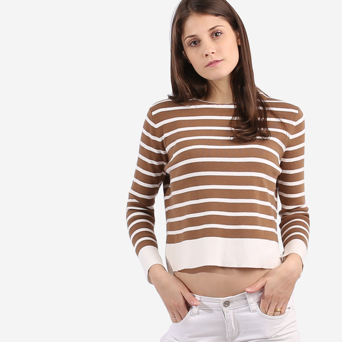 Brown Stripe Knit Top